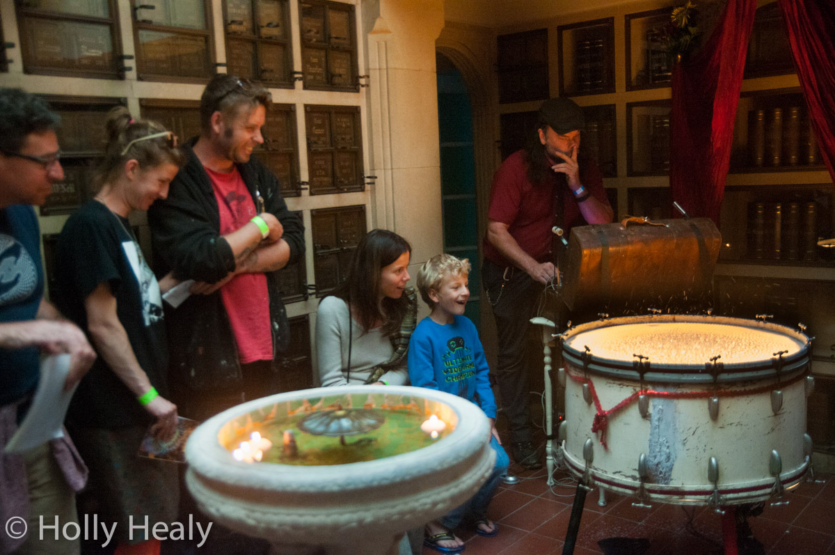 John Benson and the milk drum at Garden of Memory at Chapel of the Chimes Photo credit, Holly Healy, June 21, 2015 All Rights Reserved